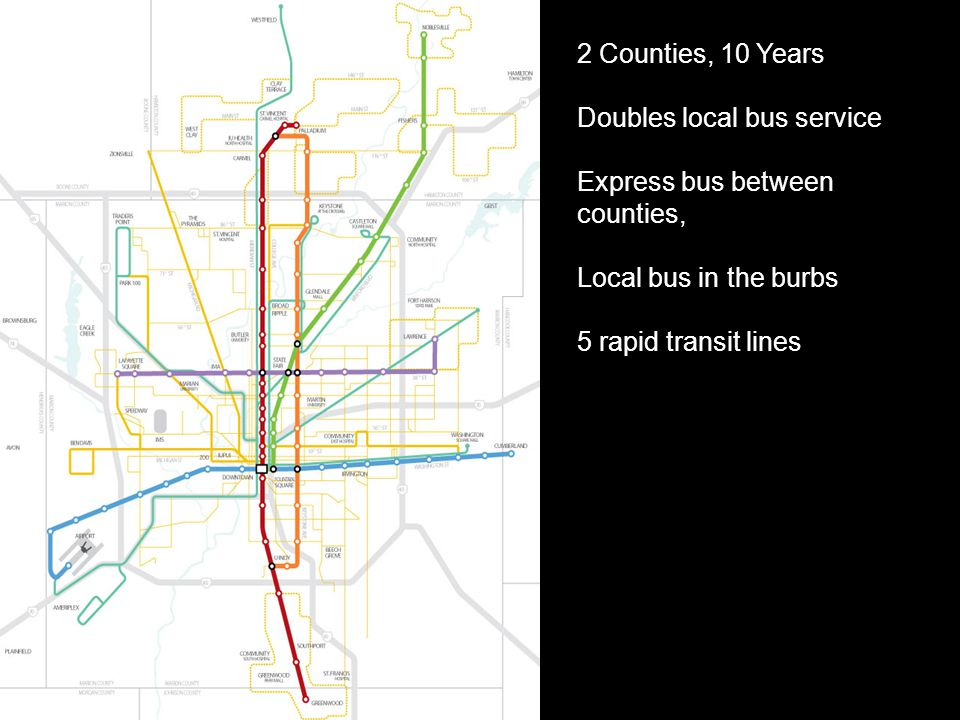 2 Counties, 10 Years Doubles local bus service Express bus between counties, Local bus in the burbs 5 rapid transit lines