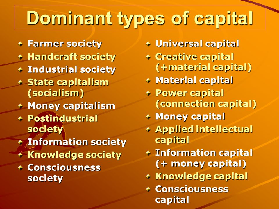 Dominant types of capital Farmer society Handcraft society Industrial society State capitalism (socialism) Money capitalism Postindustrial society Inf