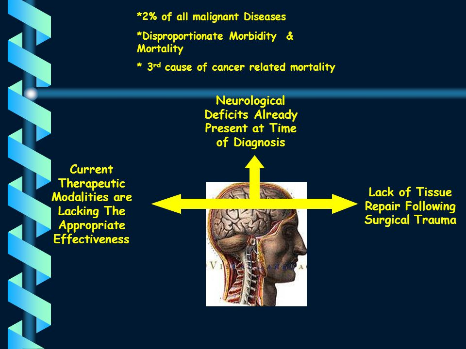 Neurological Deficits Already Present at Time of Diagnosis Lack of Tissue Repair Following Surgical Trauma Current Therapeutic Modalities are Lacking The Appropriate Effectiveness *2% of all malignant Diseases *Disproportionate Morbidity & Mortality * 3 rd cause of cancer related mortality