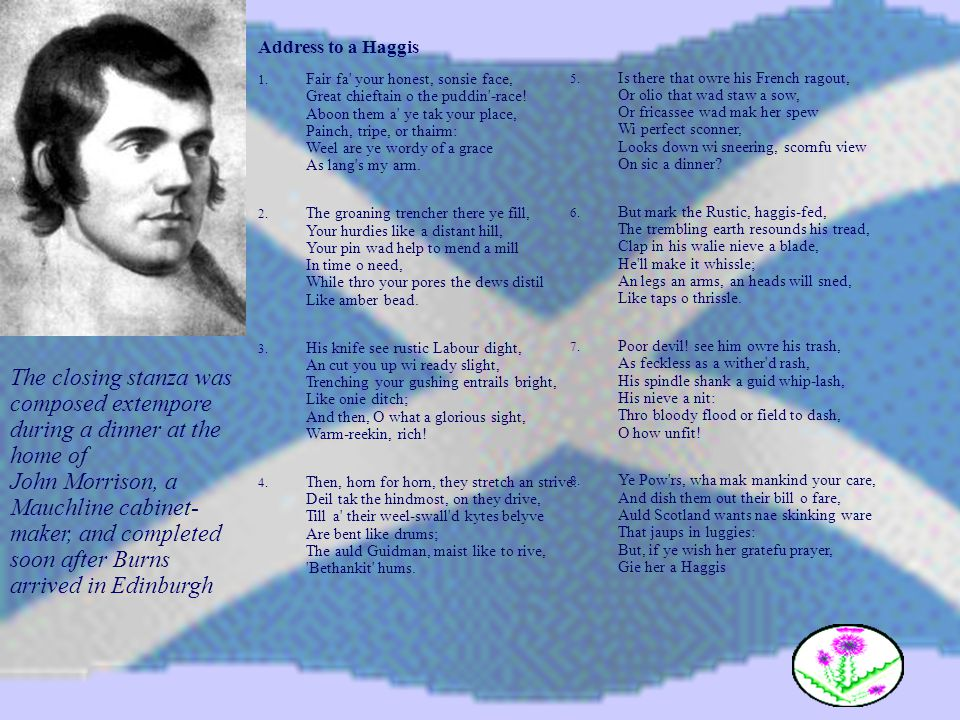 Address to a Haggis 1. Fair fa' your honest, sonsie face, Great chieftain o the puddin'-race! Aboon them a' ye tak your place, Painch, tripe, or thair