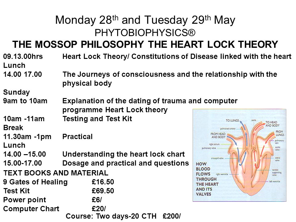 Monday 28 th and Tuesday 29 th May PHYTOBIOPHYSICS® THE MOSSOP PHILOSOPHY THE HEART LOCK THEORY 09.13.00hrsHeart Lock Theory/ Constitutions of Disease linked with the heart Lunch 14.00 17.00 The Journeys of consciousness and the relationship with the physical body Sunday 9am to 10amExplanation of the dating of trauma and computer programme Heart Lock theory 10am -11amTesting and Test Kit Break 11.30am -1pmPractical Lunch 14.00 –15.00Understanding the heart lock chart 15.00-17.00Dosage and practical and questions Course: Two days-20 CTH £200/ TEXT BOOKS AND MATERIAL 9 Gates of Healing£16.50 Test Kit £69.50 Power point £6/ Computer Chart£20/