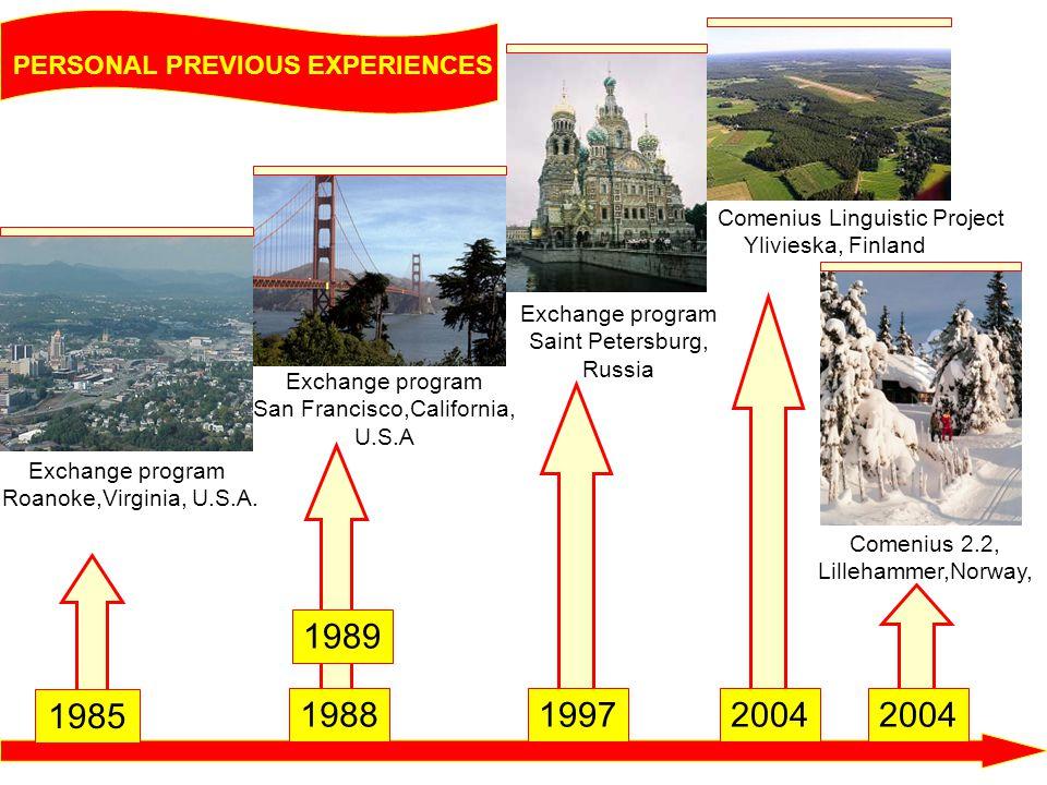 PERSONAL PREVIOUS EXPERIENCES Exchange program San Francisco,California, U.S.A Exchange program Saint Petersburg, Russia Comenius Linguistic Project Y