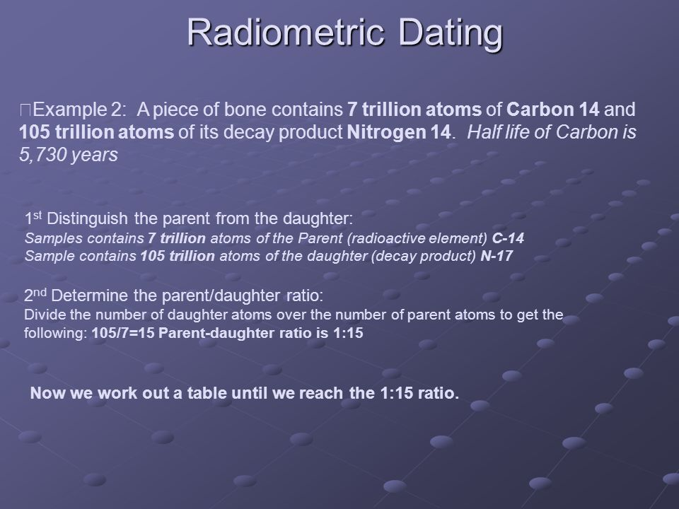Radiometric Dating 1 st Distinguish the parent from the daughter: Samples contains 7 trillion atoms of the Parent (radioactive element) C-14 Sample contains 105 trillion atoms of the daughter (decay product) N-17 2 nd Determine the parent/daughter ratio: Divide the number of daughter atoms over the number of parent atoms to get the following: 105/7=15 Parent-daughter ratio is 1:15 Now we work out a table until we reach the 1:15 ratio.