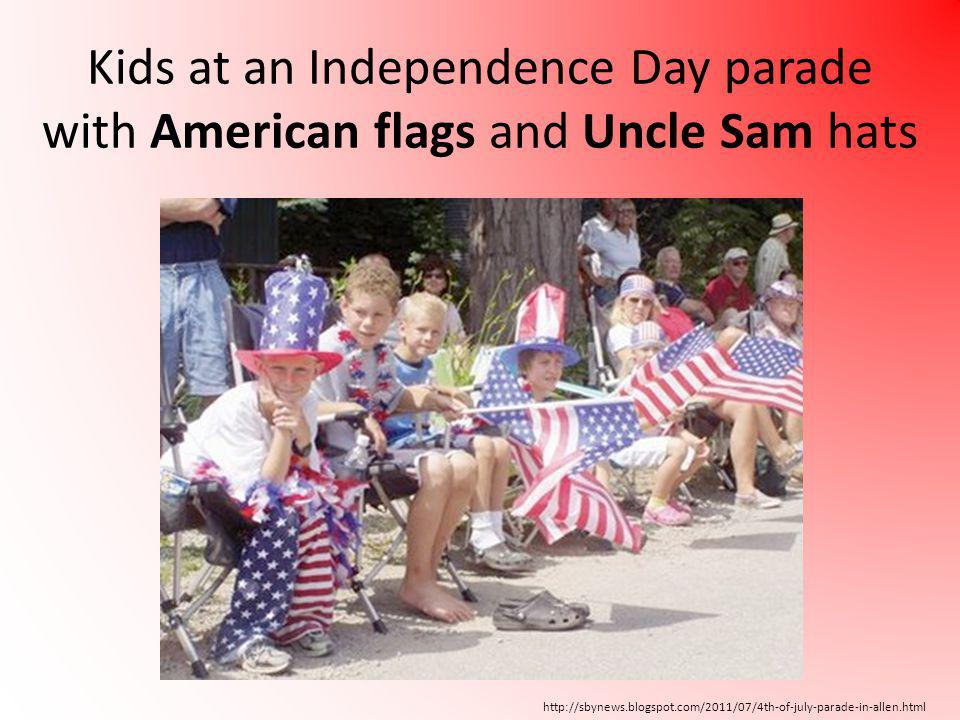 http://sbynews.blogspot.com/2011/07/4th-of-july-parade-in-allen.html Kids at an Independence Day parade with American flags and Uncle Sam hats