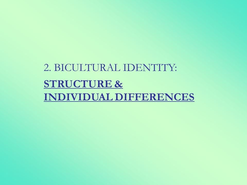 2. BICULTURAL IDENTITY: STRUCTURE & INDIVIDUAL DIFFERENCES