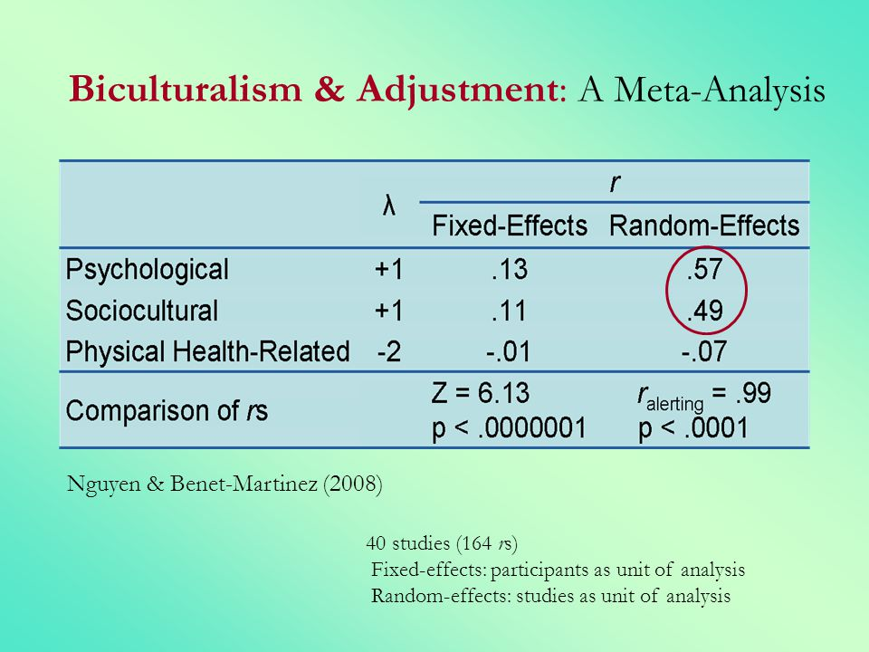 Biculturalism & Adjustment: A Meta-Analysis Nguyen & Benet-Martinez (2008) 40 studies (164 rs) Fixed-effects: participants as unit of analysis Random-