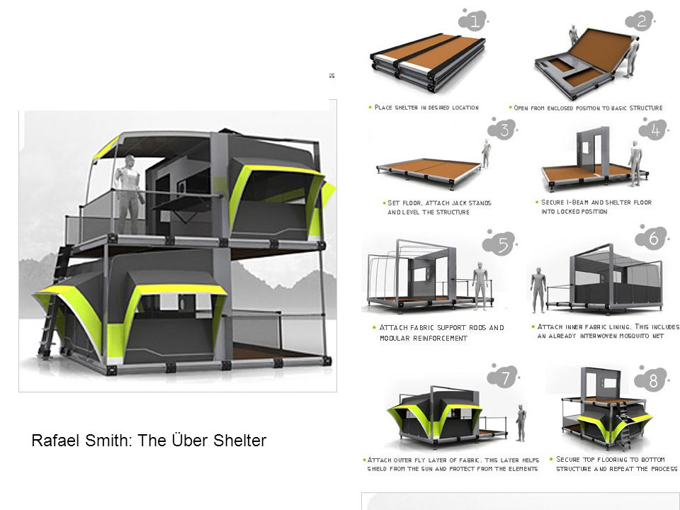 http://www.nytimes.co m/2009/01/04/educati on/edlife/ideas- ubershelter- t.html?ref=edlife Rafael Smith: The Über Shelter