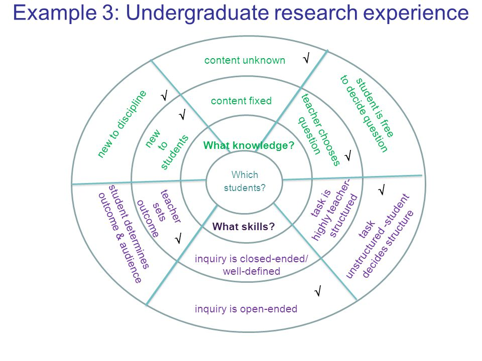 Example 3: Undergraduate research experience What skills? Which students? new to students new to discipline content fixed content unknown teacher choo