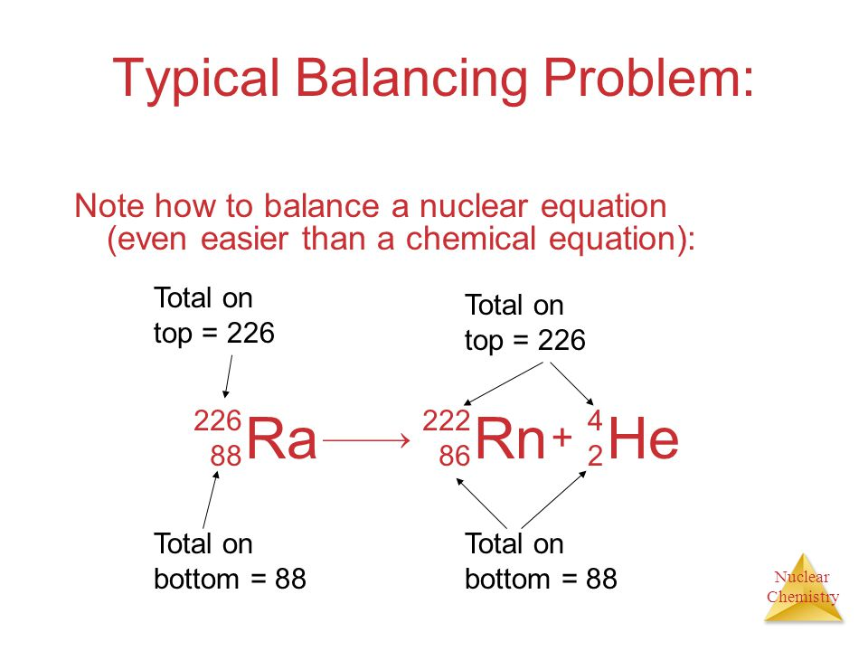 Nuclear Chemistry Typical Balancing Problem: Note how to balance a nuclear equation (even easier than a chemical equation): Ra 226 88 X 222 86 He 4242