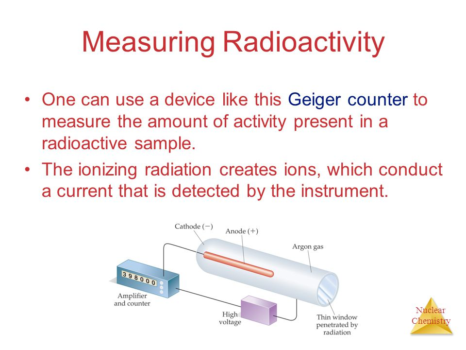Nuclear Chemistry Kinetics of Radioactive Decay The half-life of such a process is: = t 1/2 0.693 k Comparing the amount of a radioactive nuclide pres