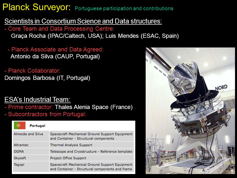 Planck Surveyor: Portuguese participation and contributions Scientists in Consortium Science and Data structures: - Core Team and Data Processing Cent
