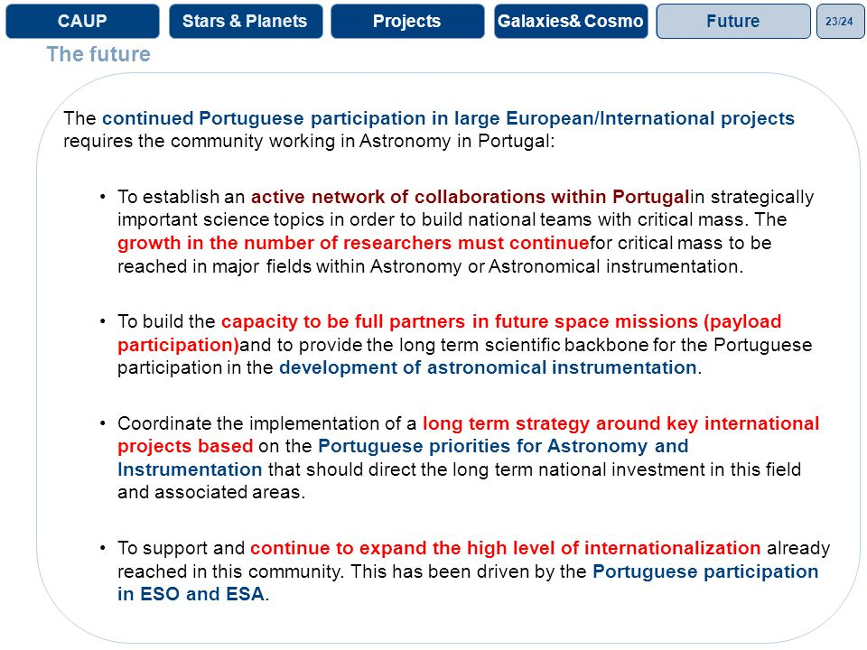 23/24 ProjectsGalaxies& CosmoProjectsCAUPStars & Planets The continued Portuguese participation in large European/International projects requires the