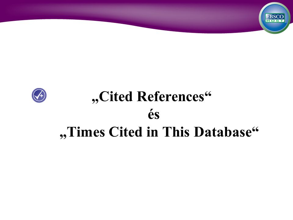 Cited References és Times Cited in This Database