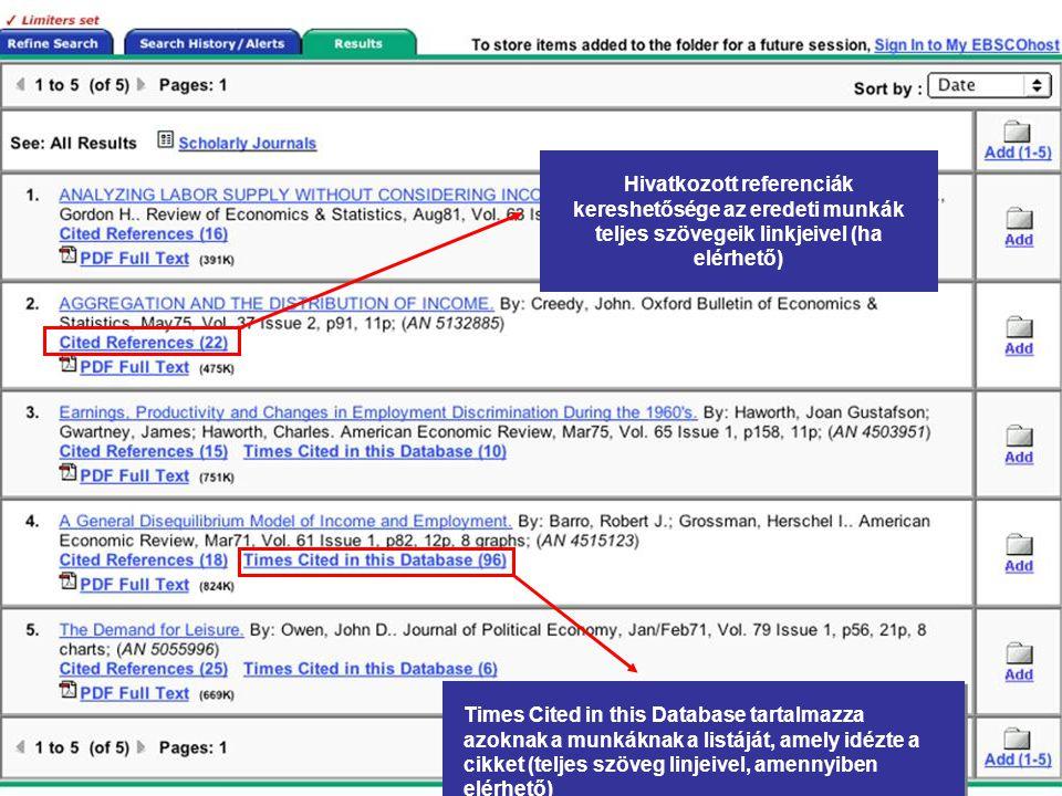 Hivatkozott referenciák kereshetősége az eredeti munkák teljes szövegeik linkjeivel (ha elérhető) Times Cited in this Database tartalmazza azoknak a munkáknak a listáját, amely idézte a cikket (teljes szöveg linjeivel, amennyiben elérhető)