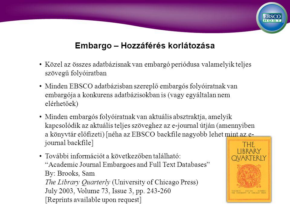 Közel az összes adatbázisnak van embargó periódusa valamelyik teljes szövegű folyóiratban Minden EBSCO adatbázisban szereplő embargós folyóiratnak van embargója a konkurens adatbázisokban is (vagy egyáltalan nem elérhetőek) Minden embargós folyóiratnak van aktuális absztraktja, amelyik kapcsolódik az aktuális teljes szöveghez az e-journal útján (amennyiben a könyvtár előfizeti) [néha az EBSCO backfile nagyobb lehet mint az e- journal backfile] További információt a következőben található: Academic Journal Embargoes and Full Text Databases By: Brooks, Sam The Library Quarterly (University of Chicago Press) July 2003, Volume 73, Issue 3, pp.
