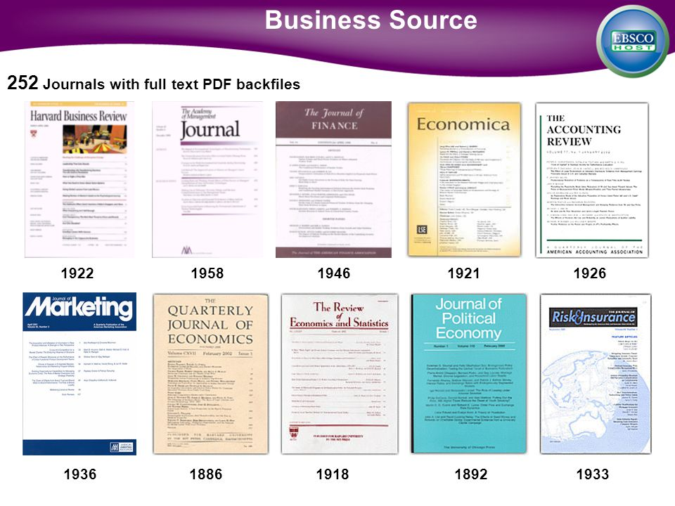 1922 1958 1946 1921 1926 1936 1886 1918 1892 1933 Business Source 252 Journals with full text PDF backfiles