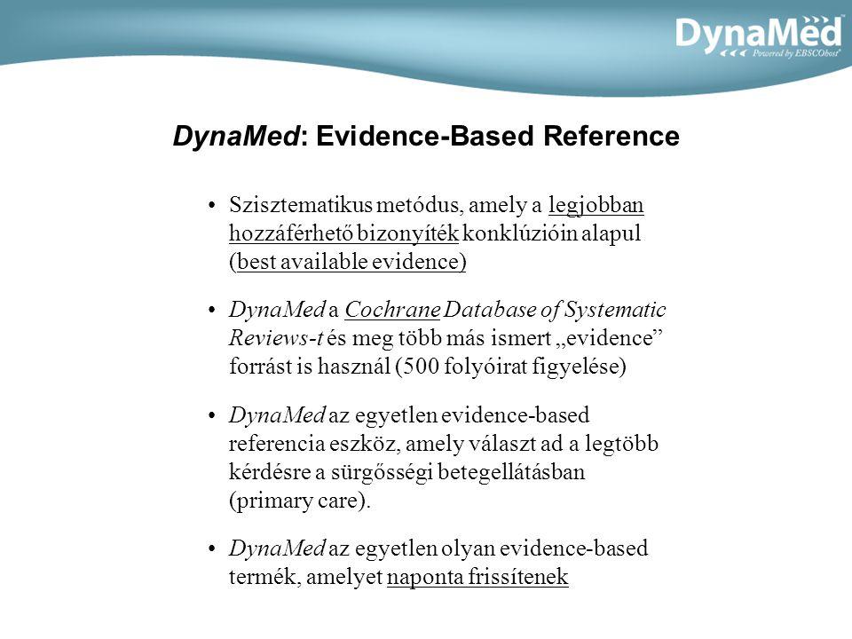 DynaMed: Evidence-Based Reference Szisztematikus metódus, amely a legjobban hozzáférhető bizonyíték konklúzióin alapul (best available evidence) DynaMed a Cochrane Database of Systematic Reviews-t és meg több más ismert evidence forrást is használ (500 folyóirat figyelése) DynaMed az egyetlen evidence-based referencia eszköz, amely választ ad a legtöbb kérdésre a sürgősségi betegellátásban (primary care).