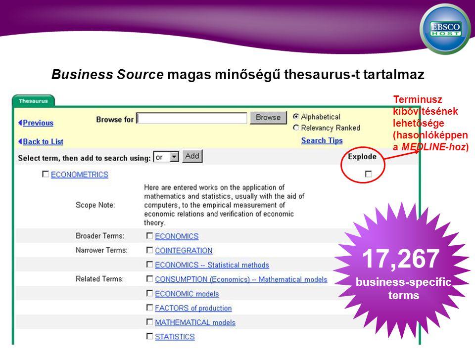 Business Source magas minőségű thesaurus-t tartalmaz 17,267 business-specific terms Terminusz kibővítésének lehetősége (hasonlóképpen a MEDLINE-hoz)