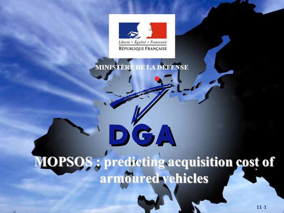 SDA/EC 11-12 MOPSOS SOFTWARE : INPUT DATA Technical data : main parameters : weight, volume, armament,...