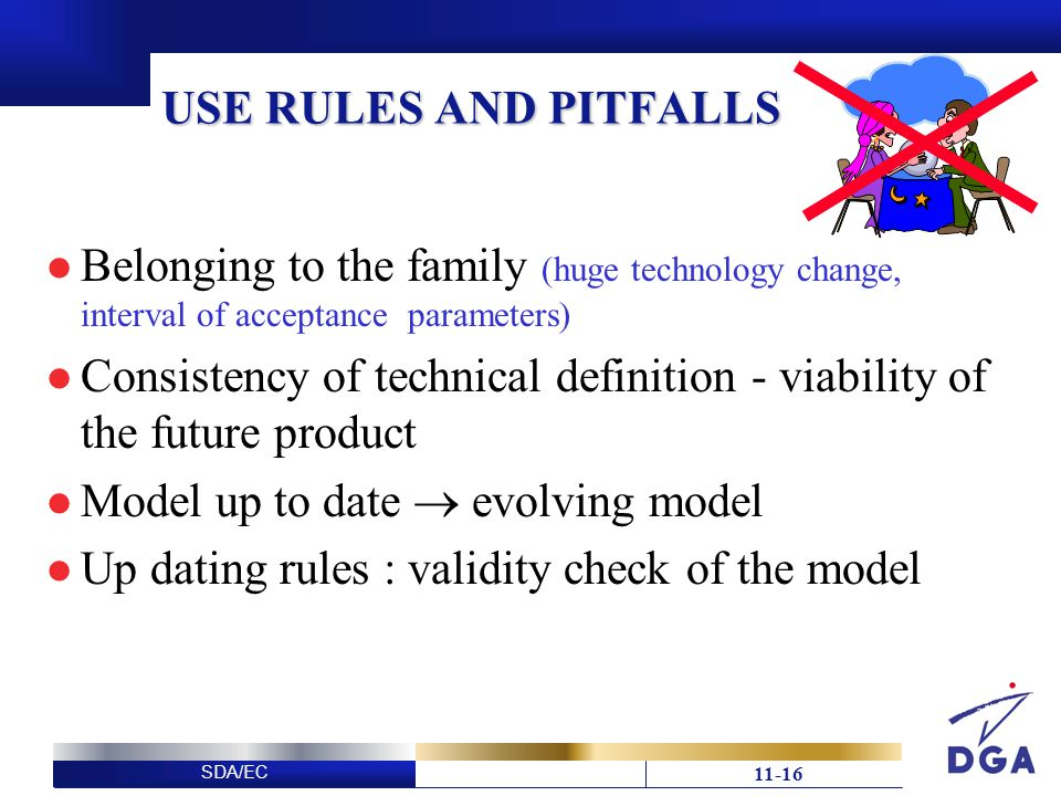SDA/EC USE RULES AND PITFALLS Belonging to the family (huge technology change, interval of acceptance parameters) Consistency of technical definition - viability of the future product Model up to date evolving model Up dating rules : validity check of the model