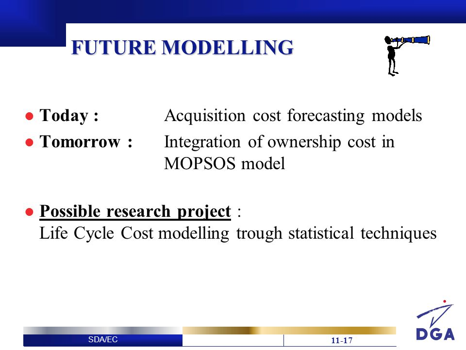 SDA/EC FUTURE MODELLING Today : Acquisition cost forecasting models Tomorrow : Integration of ownership cost in MOPSOS model Possible research project : Life Cycle Cost modelling trough statistical techniques