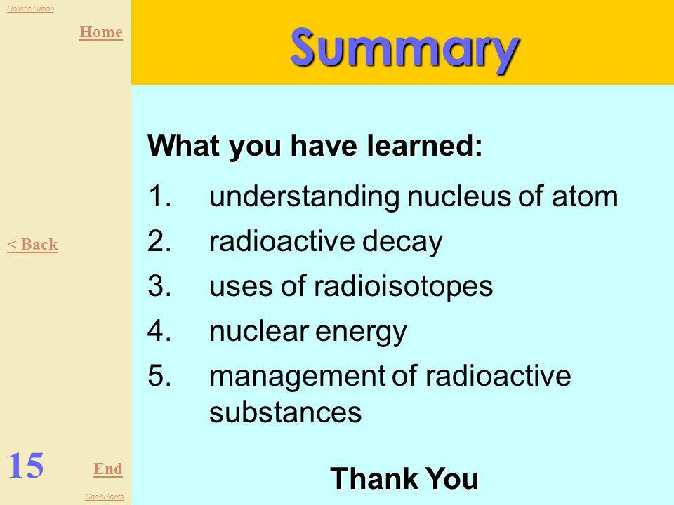 Home End HolisticTuition CashPlants 14 < Back Next >Management 2 negative effects of radioactive materials -Somatic damage: near-term death of cells o