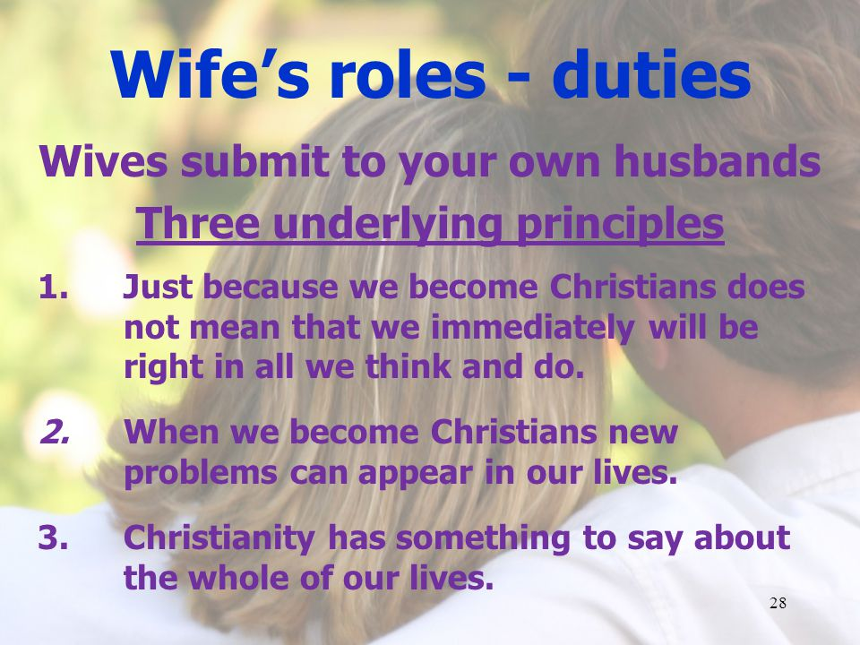Wifes roles - duties Wives submit to your own husbands Three underlying principles 1.