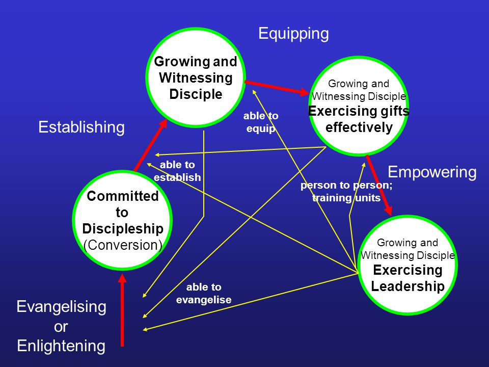 Evangelising or Enlightening Committed to Discipleship (Conversion) Growing and Witnessing Disciple Exercising gifts effectively Growing and Witnessing Disciple Exercising Leadership Establishing Equipping Empowering able to evangelise able to establish able to equip person to person; training units