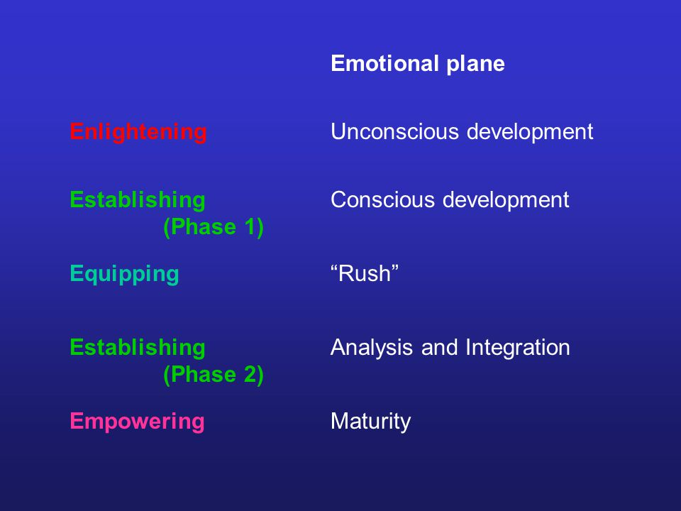 Emotional plane Unconscious development Conscious development Rush Analysis and Integration Maturity Enlightening Establishing (Phase 1) Equipping Empowering Establishing (Phase 2)