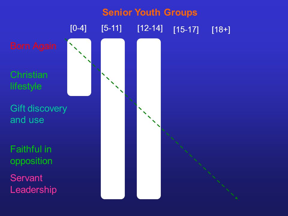 [0-4][5-11][12-14] [15-17][18+] Senior Youth Groups Gift discovery and use Faithful in opposition Servant Leadership Born Again Christian lifestyle