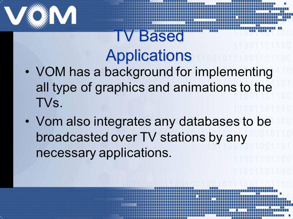 VOM has a background for implementing all type of graphics and animations to the TVs. Vom also integrates any databases to be broadcasted over TV stat