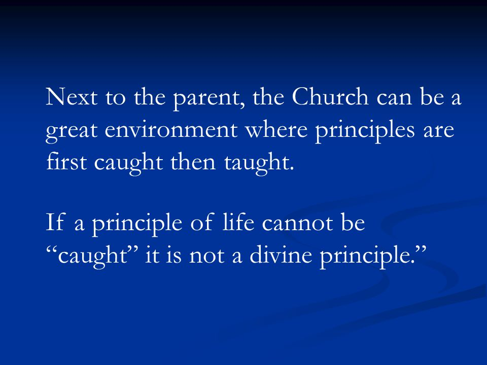 Next to the parent, the Church can be a great environment where principles are first caught then taught.