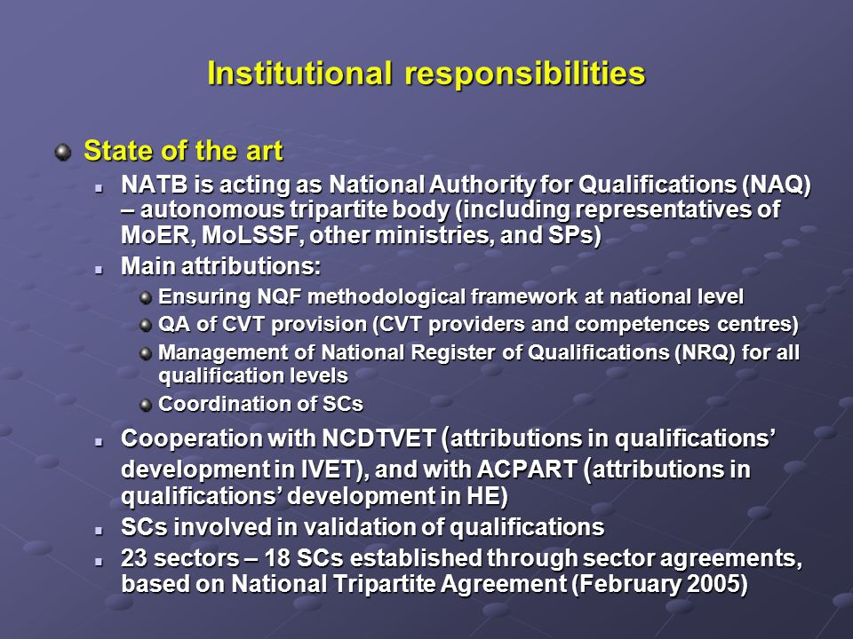 Institutional responsibilities State of the art NATB is acting as National Authority for Qualifications (NAQ) – autonomous tripartite body (including representatives of MoER, MoLSSF, other ministries, and SPs) NATB is acting as National Authority for Qualifications (NAQ) – autonomous tripartite body (including representatives of MoER, MoLSSF, other ministries, and SPs) Main attributions: Main attributions: Ensuring NQF methodological framework at national level QA of CVT provision (CVT providers and competences centres) Management of National Register of Qualifications (NRQ) for all qualification levels Coordination of SCs Cooperation with NCDTVET ( attributions in qualifications development in IVET), and with ACPART ( attributions in qualifications development in HE) Cooperation with NCDTVET ( attributions in qualifications development in IVET), and with ACPART ( attributions in qualifications development in HE) SCs involved in validation of qualifications SCs involved in validation of qualifications 23 sectors – 18 SCs established through sector agreements, based on National Tripartite Agreement (February 2005) 23 sectors – 18 SCs established through sector agreements, based on National Tripartite Agreement (February 2005)