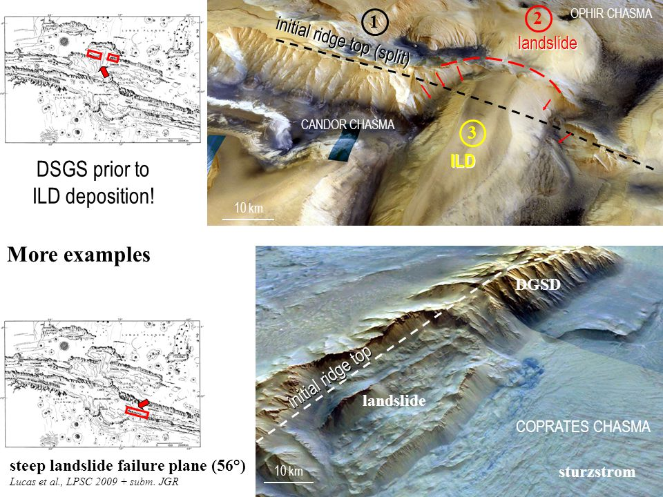 CANDOR CHASMA OPHIR CHASMA 10 km More examples initial ridge top (split) 1 DSGS prior to ILD deposition.