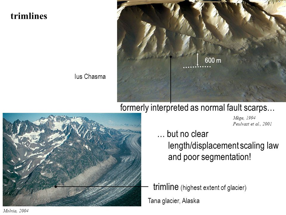 Molnia, 2004 Tana glacier, Alaska Ius Chasma trimlines formerly interpreted as normal fault scarps… Mège, 1994 Peulvast et al., 2001 … but no clear length/displacement scaling law and poor segmentation.