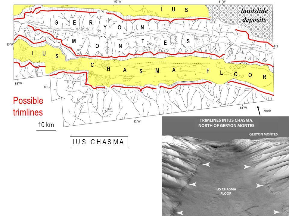 GER YON M ON T E S I U S C H A S M A F L O O R I U S landslide deposits Possible trimlines I U S C H A S M A 10 km