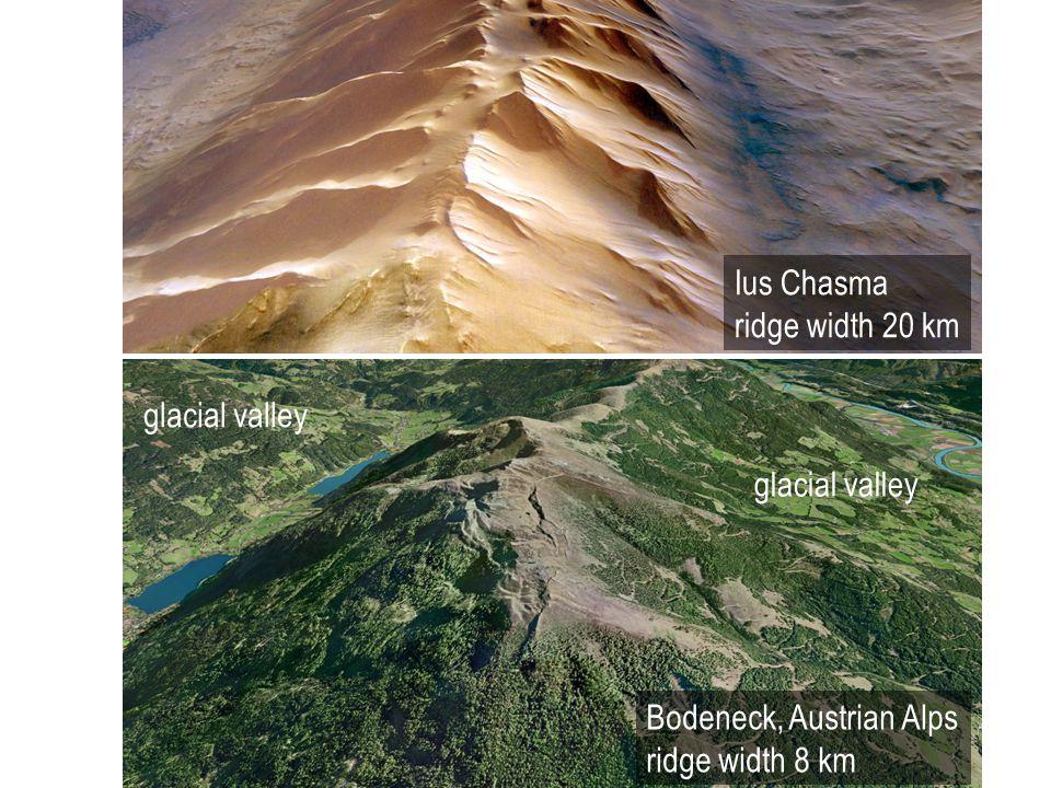 Ius Chasma ridge width 20 km Bodeneck, Austrian Alps ridge width 8 km glacial valley