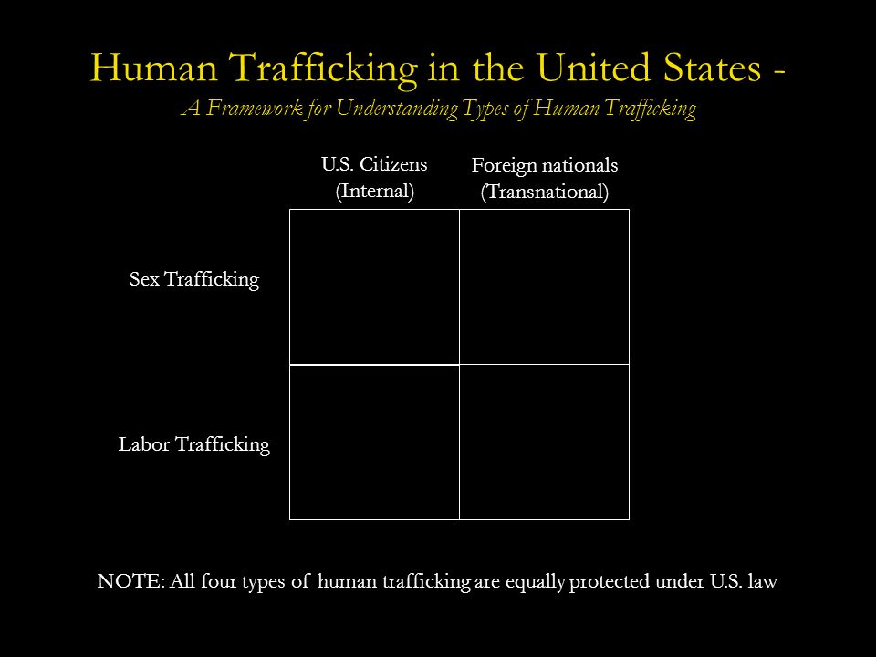 Human Trafficking in the United States - Scope and Statistics An estimated 14,500-17,500 foreign nationals are trafficked into the United States each year for both sexual and labor exploitation.