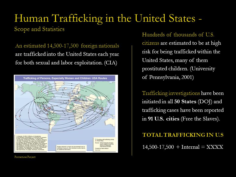 Scope and Statistics (Global and U.S.) 3rd largest criminal industry in the world, after arms and drugs smuggling, and fastest growing (CIA) (some say 2 nd largest) 600,000-800,000 individuals trafficked across international borders each year Yields an estimated $9 billion in profits each year (based on only transnational trafficking estimates) Majority of victims are estimated to be women and children Only a small percentage of potential total victims have been officially identified and assisted in the U.S.