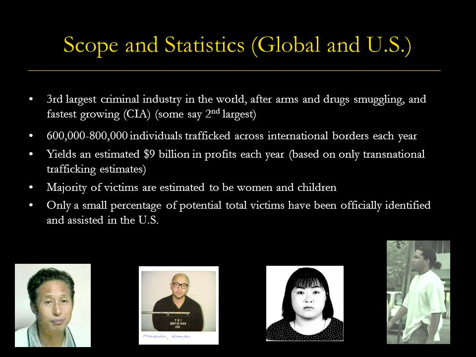 Scope and Statistics (Global and U.S.) 3rd largest criminal industry in the world, after arms and drugs smuggling, and fastest growing (CIA) (some say