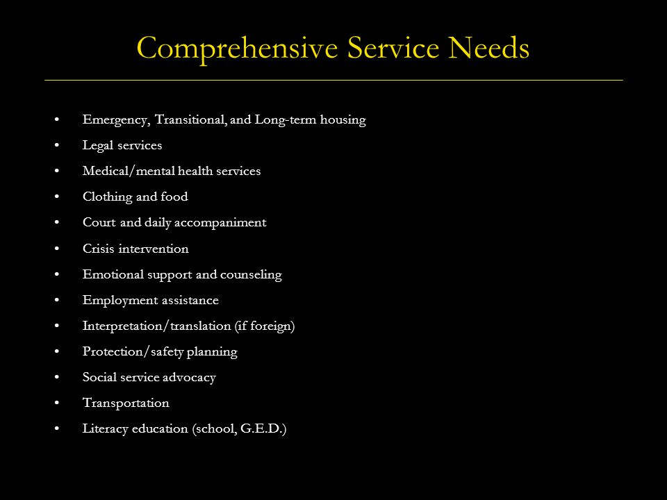 Comprehensive Service Needs Emergency, Transitional, and Long-term housing Legal services Medical/mental health services Clothing and food Court and d