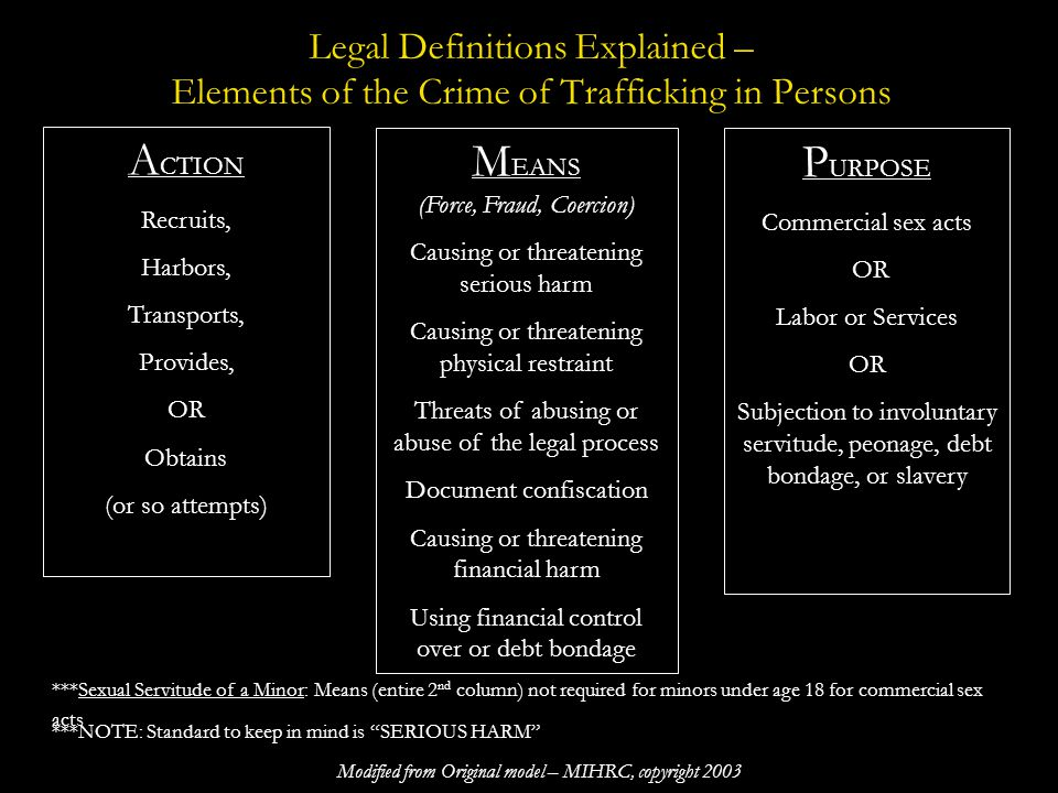 Examples of Means – Methods of Control Force: Physical assault (Beating, burning, slapping, hitting, assault with a weapon, etc), sexual assault, rape, gang rape, and physical confinement and isolation Fraud: False employment offers, lying about work conditions (example: not telling someone that commercial sex will be required), false promises, withholding wages Coercion: Any threats to life, safety, to family members or other similar parties.