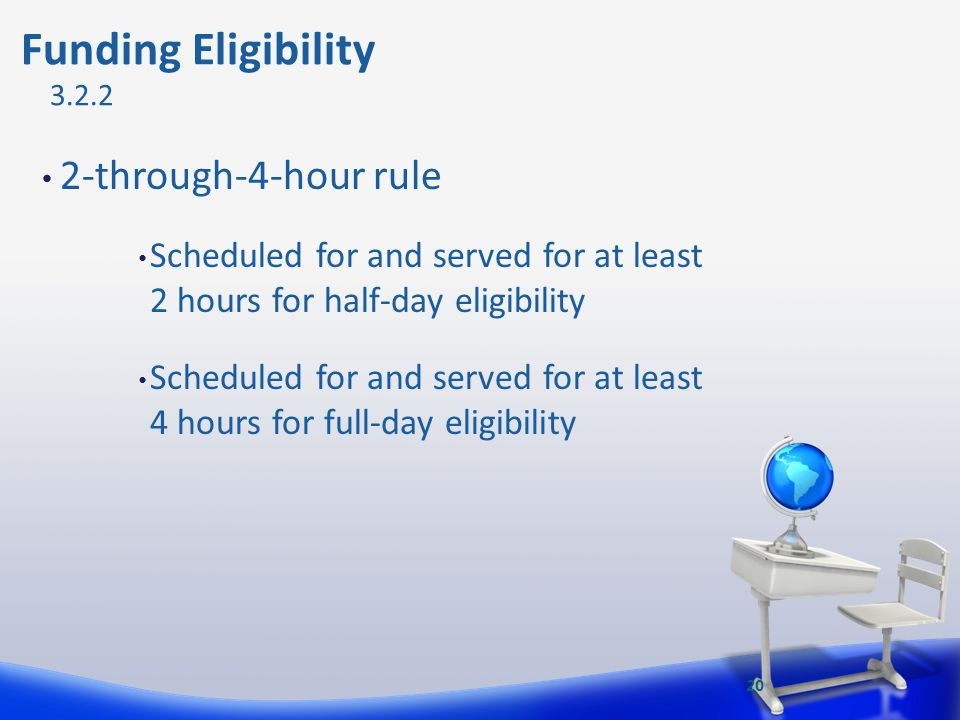 2-through-4-hour rule Scheduled for and served for at least 2 hours for half-day eligibility Scheduled for and served for at least 4 hours for full-da