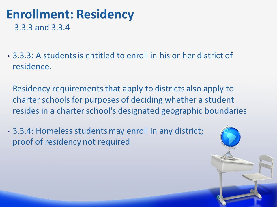 3.3.3: A students is entitled to enroll in his or her district of residence. Residency requirements that apply to districts also apply to charter scho