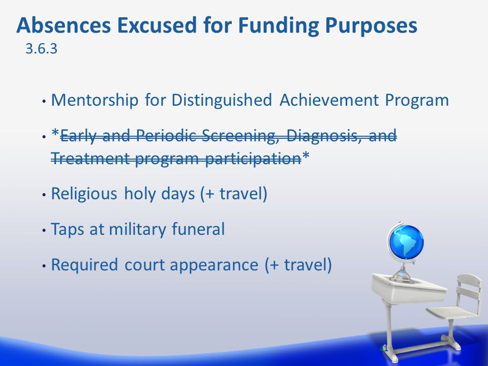 Mentorship for Distinguished Achievement Program *Early and Periodic Screening, Diagnosis, and Treatment program participation* Religious holy days (+