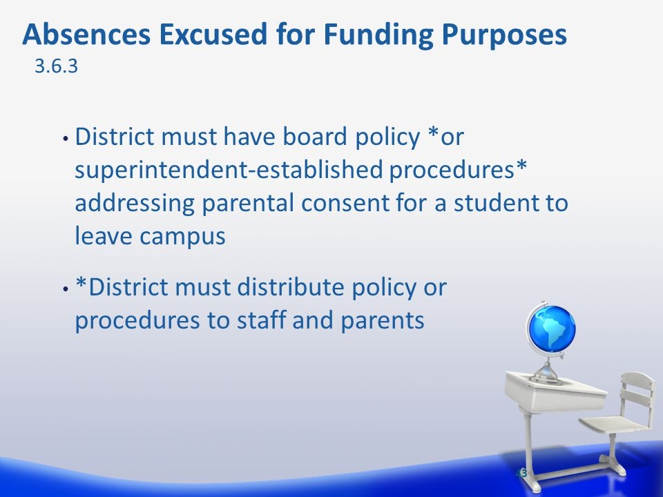 District must have board policy *or superintendent-established procedures* addressing parental consent for a student to leave campus *District must di