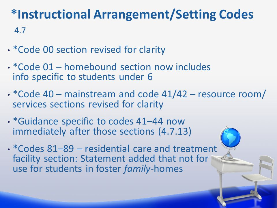 *Code 00 section revised for clarity *Code 01 – homebound section now includes info specific to students under 6 *Code 40 – mainstream and code 41/42