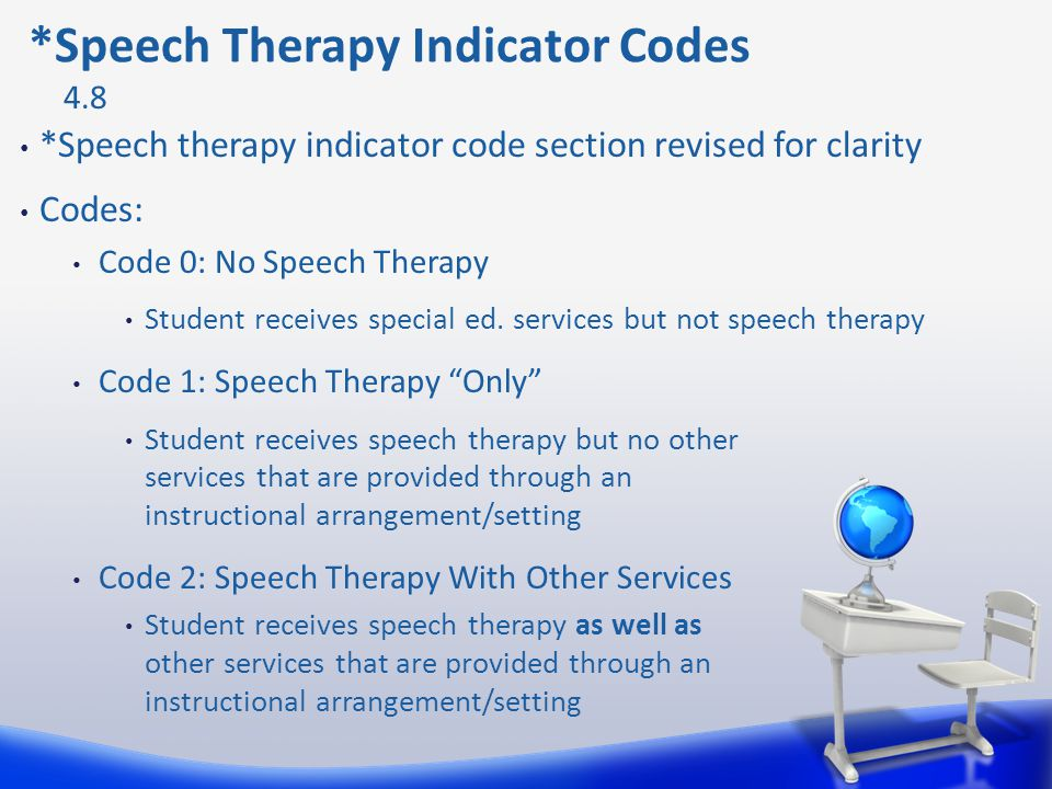 *Speech therapy indicator code section revised for clarity Codes: Code 0: No Speech Therapy Student receives special ed. services but not speech thera