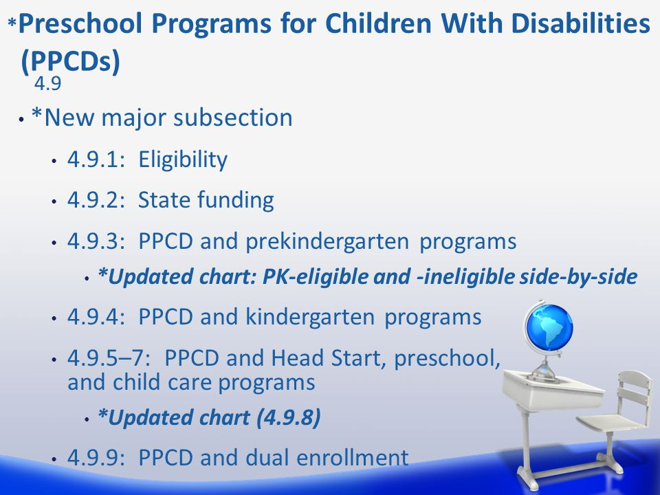 *New major subsection 4.9.1: Eligibility 4.9.2: State funding 4.9.3: PPCD and prekindergarten programs *Updated chart: PK-eligible and -ineligible sid