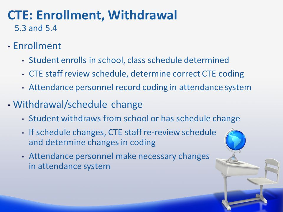 Enrollment Student enrolls in school, class schedule determined CTE staff review schedule, determine correct CTE coding Attendance personnel record co